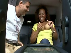 Busty ebony gets fucked in the car