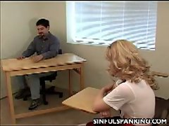Naughty student gets spanked by professor for being inattentive