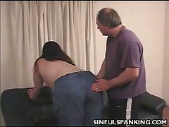 Busty babe slutty chick loves hard spanking action
