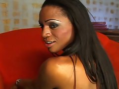 Black shemale fucked by a thick black cock