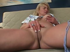 Blonde granny and young brunette share dildo action