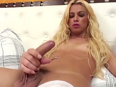 Blonde cute sex crazed shemale has steaming hot sex