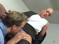 Flirty milf secretary enticing huge dick boss for hot pounding