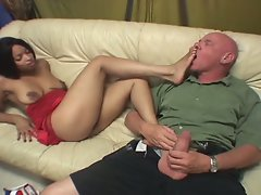 Hot ebony slut from black foot patrol enticing white daddy cock