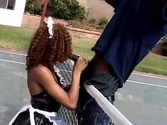 Hot ebony maid fucked outdoors