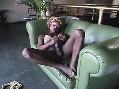 Black slutty shemale gets her cock ready for action