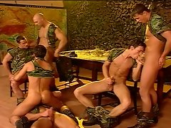 Hot cum splashing in this awesome gay army orgy