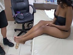 Doctor likes to diagnose on ebony toes