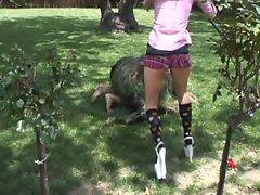 Fierce blonde school girl down to take hot sperm outdoors