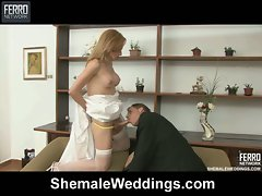Nasty shemale fucking the groom after a boring wedding
