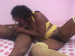 Afro american slut with hairy pussy riding monster black cock