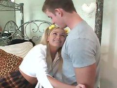 Kelly the co-ed blonde gets her boyfriend's dreams cum true