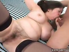 Hairy milf maid gets some cock