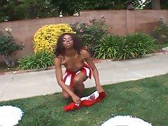 Ebony cheerleaders 10-ebony hot babe fun with cushion and drilled !