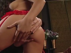 Sexy busty brunette milf in red loves hardcore sex