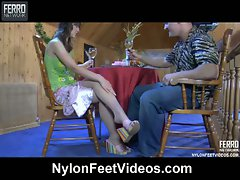 Ella and nicholas lustful nylon feet action