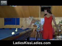 Lesbian babes enjoying hot pussy action while playing billiards