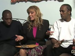 Two black dicks on a blonde milf