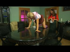 Lovely lesbian milf maid takes on busty schoolgirl