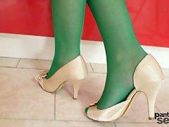 Green pantyhose for Tera Joy's latina ass