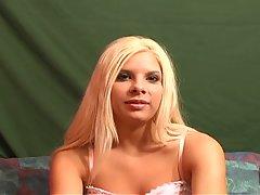 Nasty Blonde Slut Gagging as Mouth gets Stretched
