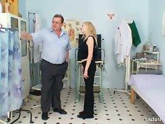 Horny grandpa doctor examines teen Beatka's pussy