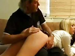 Schoolgirl has her ass rubbed and spanked a little