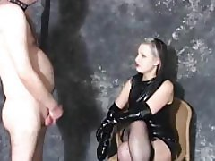 Dominant chick makes him lick her knees