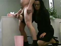 Hottie in glasses is milking his cock