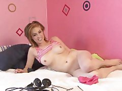 Naughty girl with amazing tits doing an interview