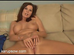 Sexy milf chick idly masturbates while interviewing