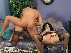 Two slutty moms in stockings fucked by a big cock