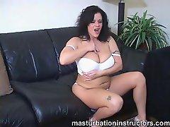 Curvy girl having fun with masturbation talk