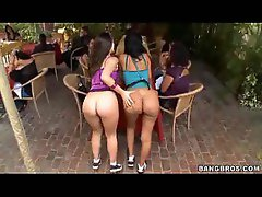 Two big ass waitresses showing off their naked booties