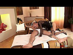 Hot mistress has tied her man to the bed