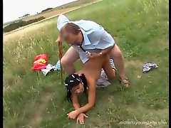 Old man and his teen slut fucking outdoors