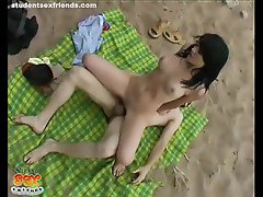 Gorgeous teen getting fucked on a beach