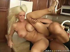 Busty blonde mom fucked with a stiff dong