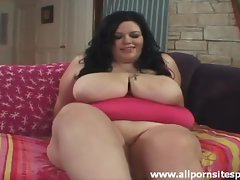 Super BBW gets naked and plays with vagina