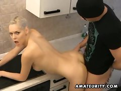 Hot blonde amateur girlfriend sucks and fucks with huge facial