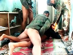 Men in uniform gangbang a filthy slut