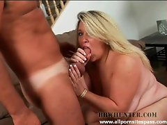 Naughty blonde BBW enjoys sucking on horny guys cock
