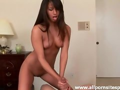 Sexy bra on the slim cock stroking girl