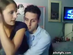 Horny teen couple fucking in their room