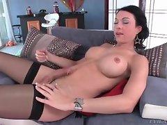Tranny with sexy fake tits masturbates cock