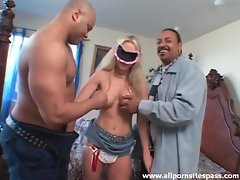 Wife drops to her knees to suck black cock