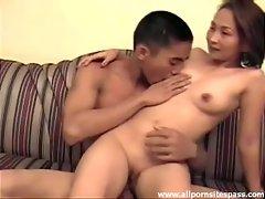 Sensual Asian couple enjoy a steamy fuck session