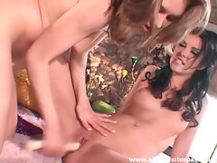 Slender and nubile lesbian ladies using their naughty toys