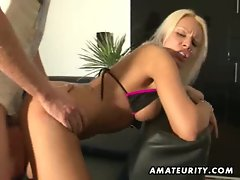 Busty blonde amateur girlfriend sucks and fucks with cumshot