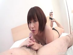 Adorable Asian cutie with short hair sucking and stroking dick